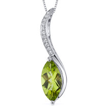 Lucid Wave 1.75 Carats Marquise Cut Sterling Silver Peridot Pendant Style SP10556