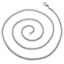 2mm Stainless Steel Box Chain Necklace available in 22, 24, 26, 30 and 36 inch length Style SN10572