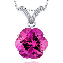 Striking Slider 16.00 Carats Round Octagon Cut Sterling Silver Pink Sapphire Pendant Style SP10576