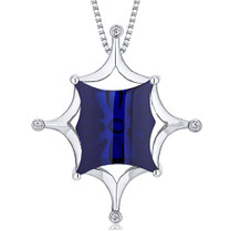 Butterfly Cut Buff Top Large 14.00 Carats Sterling Silver Blue Sapphire Pendant Style SP10634