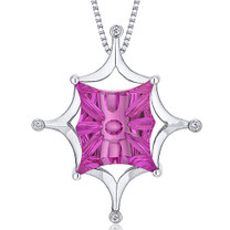 Butterfly Cut Buff Top Large 15.00 Carats Sterling Silver Pink Sapphire Pendant Style SP10636