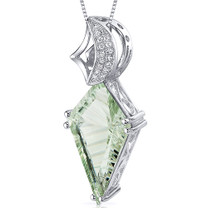 Kite Shape Large 6.00 Carats Sterling Silver Green Amethyst Pendant Style SP10647
