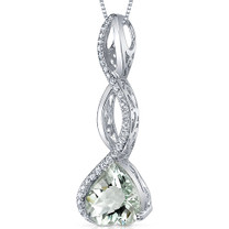 Dangling 3.00 Carats Heart Shape Sterling Silver Green Amethyst Pendant Style SP10650