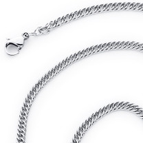 2.5mm Diamond Cut 316L Surgical Stainless Steel Flat Double Curb Chain Necklace available in 16, 18, 20 and 22 inch length Style SN10678