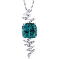 Concave Cushion Cut 10.00 Carats Sterling Silver Green Spinel Pendant Style SP10682