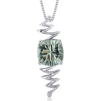 Concave Cushion Cut 7.00 Carats Sterling Silver Green Amethyst Pendant Style SP10684