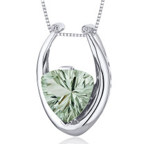 Concave Trillion Cut 5.00 Carats Sterling Silver Green Amethyst Pendant Style SP10694