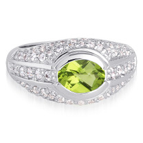 Majestic 1.25 Carats Oval Shape Peridot & White CZ Size 8 Ring in Sterling Silver Style SR9120