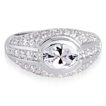 Majestic Oval Shape White Cubic Zirconia Size 8 Ring in Sterling Silver Style SR9130
