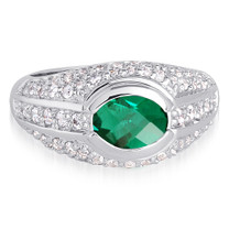 Majestic 1.25 Carats Oval Shape Emerald & White CZ Size 8 Ring in Sterling Silver Style SR9132