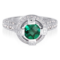 Exclusive 1.00 carat Round Shape Emerald & White CZ Size 8 Ring in Sterling Silver Style SR9180