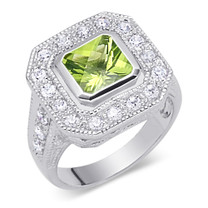 Trendy 1.75 Carats Princess Cut Peridot & White CZ Size 7 Ring in Sterling Silver Style SR9270