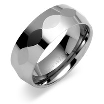 Center Faceted 8mm Comfort Fit Mens Tungsten Carbide Ring Size 9 Style SR9446