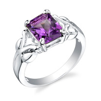2.00 Carats Radiant Cut Amethyst Sterling Silver Ring in Sizes 5 to 9 Style SR1740