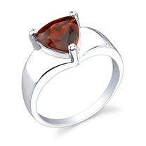 2.25 carats Trillion Cut Garnet Sterling Silver Ring in Sizes 5 to 9 Style SR2032