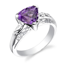 1.50 carats Trillion Cut Amethyst Sterling Silver Ring in Sizes 5 to 9 Style SR2048