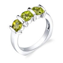 1.75 carats Round Cut Peridot Sterling Silver Ring in Sizes 5 to 9 Style SR3352