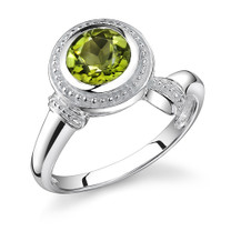 1.50 Carats Round Cut Peridot Sterling Silver Ring in Sizes 5 to 9 Style SR8608
