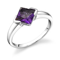 1.50 carat Princess Cut Amethyst Sterling Silver Ring in Sizes 5 to 9 Style SR8694
