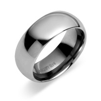 Classy 8mm Dome Style Comfort Fit Mens Tungsten Carbide Ring Sizes 8 to 13 Style SR9372