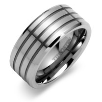 Beveled Edge Triple Grooved 9mm Comfort Fit Mens Tungsten Carbide Ring Sizes 8 to 13 Style SR9414