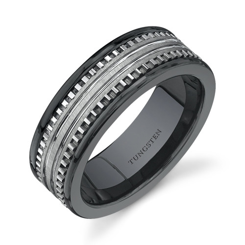 Rounded Edge 7 Mm Comfort Fit Mens Black Ceramic And