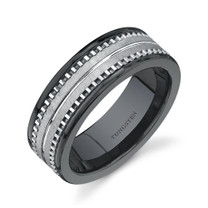 Flat Edge 7 mm Mens Black Ceramic and Tungsten Combination Ring Sizes 8 to 13 Style SR9520