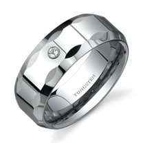 Beveled Faceted Edge White Cubic Zirconia accent 8mm Mens Tungsten Ring Size 8 to 13 Style SR9558
