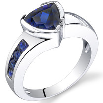 2.75 carats Trillion Cut Sapphire Sterling Silver Ring in Sizes 5 to 9 Style SR9602