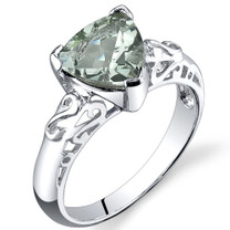 2.50 carats Trillion Cut Green Amethyst Sterling Silver Ring in Sizes 5 to 9 Style SR9624