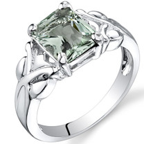 2.00 carats Radiant Cut Green Amethyst Sterling Silver Ring in Sizes 5 to 9 Style SR9632