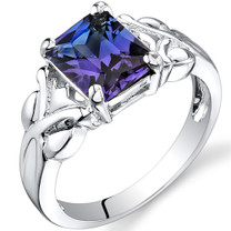 2.75 carats Radiant Cut Alexandrite Sterling Silver Ring in Sizes 5 to 9 Style SR9634