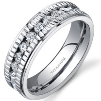 Notched Design Womens 6 mm Titanium Eternity Band Ring