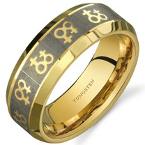 Gay Pride Double Venus Symbol 8 mm Comfort Fit Gold Tone Tungsten Ring Sizes 8 to 13 Style SR9656