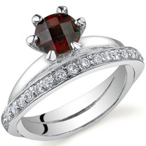 Classy Oblique Double-Band 1.00 carats Garnet Sterling Silver Ring in Sizes 5 to 9 Style SR9696