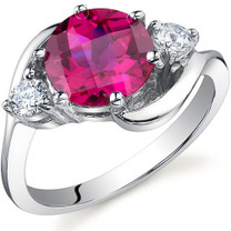 3 Stone Design 2.25 carats Ruby Sterling Silver Ring in Sizes 5 to 9 Style SR9724