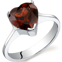 Cupids Heart 2.25 carats Garnet Sterling Silver Ring in Sizes 5 to 9 Style SR9730
