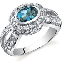 Majestic Brilliance 0.75 carats London Blue Topaz Sterling Silver Ring in Sizes 5 to 9 Style SR9756