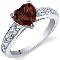 Dazzling Love 1.50 Carats Garnet Sterling Silver Ring in Sizes 5 to 9 Style SR9812