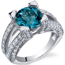 Boldly Glamorous 3.25 Carats London Blue Topaz Sterling Silver Ring in Sizes 5 to 9 Style SR9830