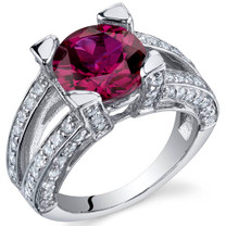 Boldly Glamorous 3.50 Carats Ruby Topaz Sterling Silver Ring in Sizes 5 to 9 Style SR9832