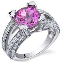 Boldly Glamorous 3.75 Carats Pink Sapphire Sterling Silver Ring in Sizes 5 to 9 Style SR9834