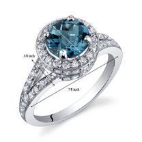 Majestic Sensation 1.50 Carats London Blue Topaz Sterling Silver Ring in Sizes 5 to 9 Style SR9876