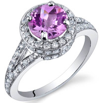 Majestic Sensation 1.75 Carats Pink Sapphire Sterling Silver Ring in Sizes 5 to 9 Style SR9880