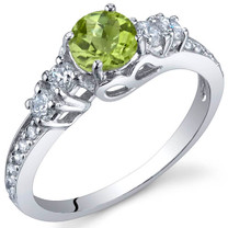 Enchanting 0.50 Carats Peridot Sterling Silver Ring in Sizes 5 to 9 Style SR9904