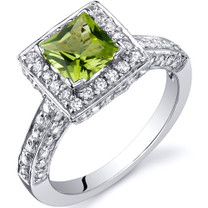 Princess Cut 0.75 Carats Peridot Engagement Sterling Silver Ring in Sizes 5 to 9 Style SR9934