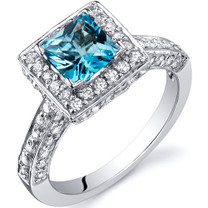 Princess Cut 1.00 Carats Swiss Blue Topaz Engagement Sterling Silver Ring in Size 5 to 9 Style SR9936