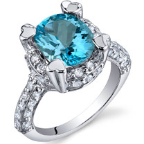 Royal Splendor 3.00 Carats Swiss Blue Topaz Sterling Silver Ring in Sizes 5 to 9 Style SR9978