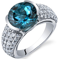 Bezel Set Large 4.50 Carats London Blue Topaz Sterling Silver Ring in Sizes 5 to 9 Style SR10006