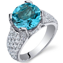 Striking Exuberance 4.00 Carats Swiss Blue Topaz Sterling Silver Ring in Sizes 5 to 9 Style SR10016